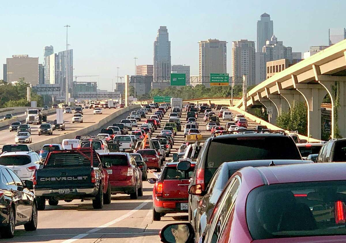 Traffic crawls along during a morning commute on the West Loop near the Galleria.