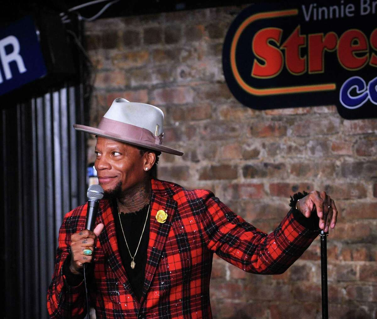 D.L. Hughley smiles at the New Jersey Stress Factory in February. D.L. Hughley In Bridgeport, popular and outspoken comic D.L. Hughley is scheduled to perform for six shows in four days at Stress Factory Bridgeport, 167 State St., from Thursday-Sunday, Oct. 22-25. Masks are required when not seated. Tickets are for table seating - $80 for two, $160 for four, $240 for six. There is a two-item minimum per person, which can be any two items that Stress Factory sells. Times vary; see bridgeport.stressfactory.com.