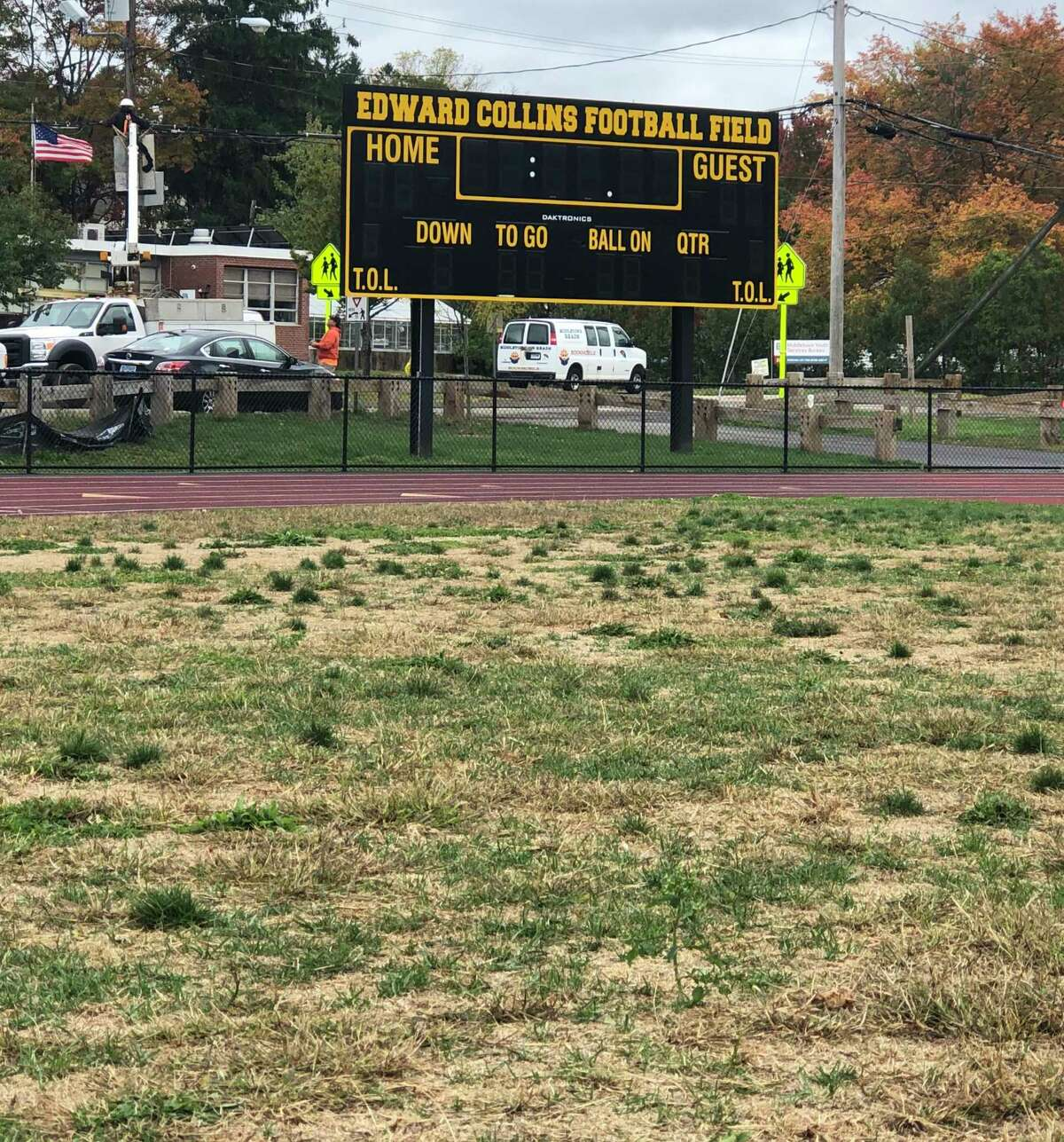 A view of the grass at Ed Collins Field in Middletown.