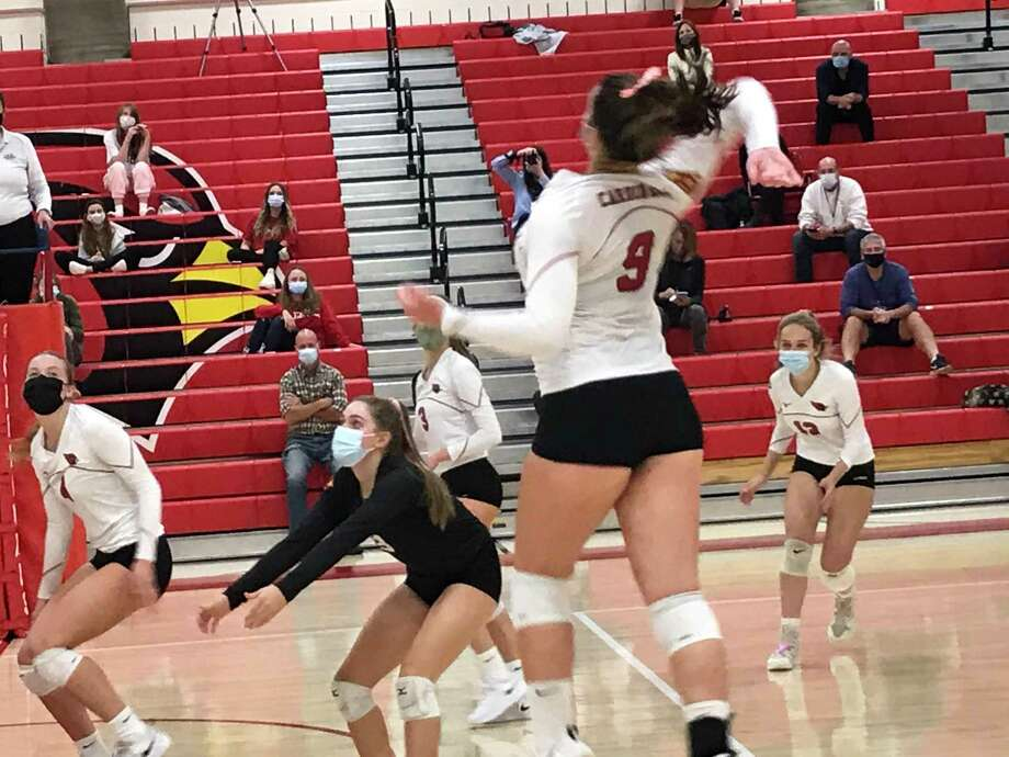 Greenwich's Lilly Saleeby rises up for a kill during the Cardinals' volleyball win vs. Westhill on Tuesday, October 13, 2020. Photo: Contributed Photo