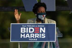 Congresswoman Sheila Jackson Lee speaks in Get out the Vote event to get voters to the polls Tuesday, Oct. 13, 2020, at NRG Stadium parking lot in Houston.