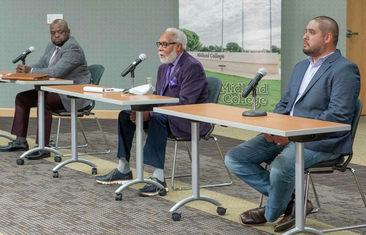 MISD School Board District 1 candidates, Michael Booker, James Fuller and Matt Galindo answer questions 10/13/2020 during the MRT Facebook live discussion at the Carrasco Room at Midland College. Tim Fischer/Reporter-Telegram