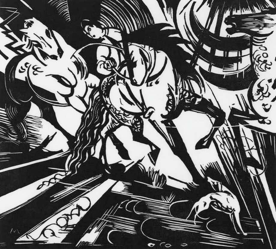 """Franz Marc, German, 1880–1916; """"Riding School,"""" 1913; woodcut; image: 10 9/16 x 11 11/16 inches, sheet: 14 x 15 1/4 inches; Saint Louis Art Museum, Funds given by the Children's Art Bazaar 478:1979 Photo: Courtesy Of The Saint Louis Art Museum