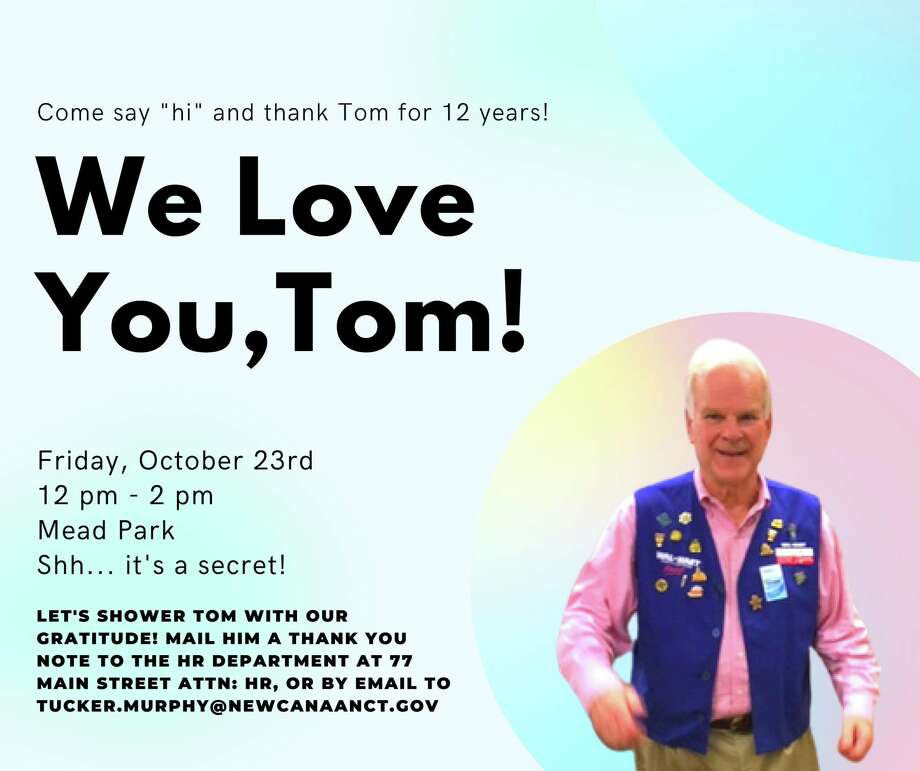 People are invited to visit with the town's retiring administrative officer, Tom Stadler, Friday, Oct. 23, when an event to send Stadler off properly is going to take place in the town's Mead Park from noon to 2 p.m., according to a flyer for the event, from Tucker Murphy who is taking over the position for Stadler, officially effective on Halloween, Oct. 31. Murphy has already started in the position. Murphy was previously the Executive Director for the town's Chamber of Commerce. Photo: New Canaan Administrative Officer Tucker Murphy / Contributed Photo