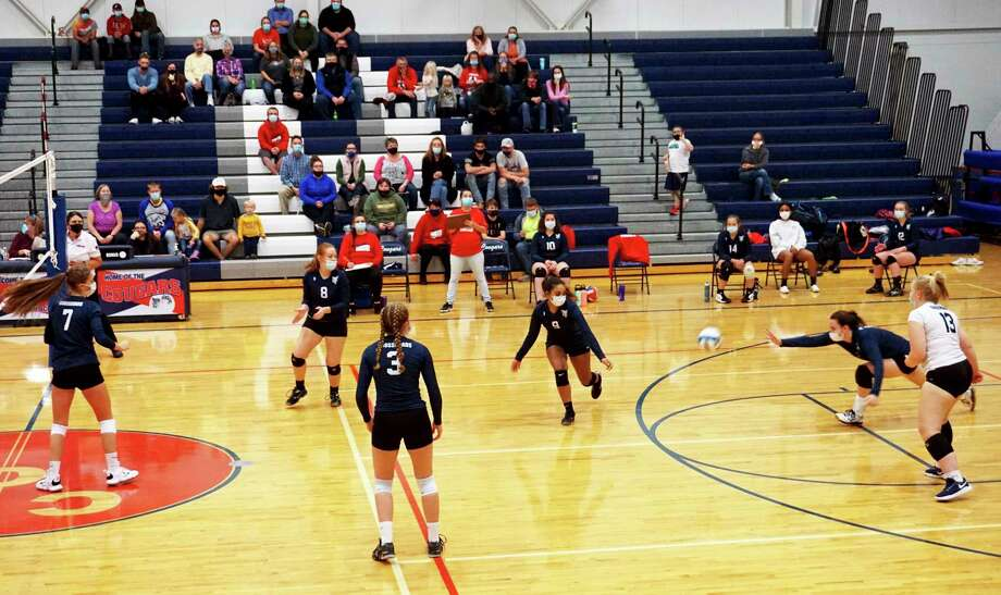 The Cougars of Crossroads Charter Academy fell in three sets to Mesick on Tuesday night. (Pioneer photo/Joe Judd)