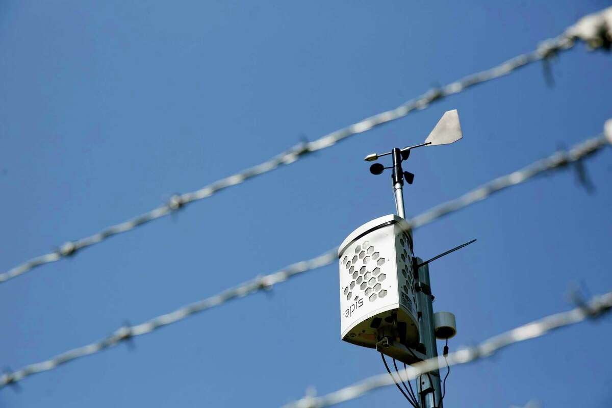 An air monitor behind the North Channel Library in Houston on Monday, Oct. 12, 2020.