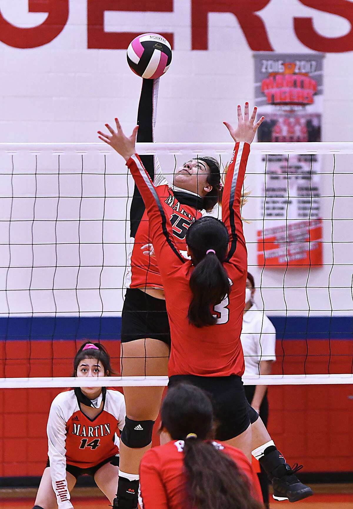 Melanie Duron combined for 38 kills in three matches as Martin got off to a 3-0 start Friday at the Sinton Tournament.