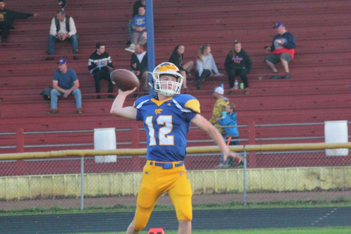 Evart quarterback Danny Witbeck had a big night for the Wildcats against Lake City on Friday. (Herald Review/John Raffel)
