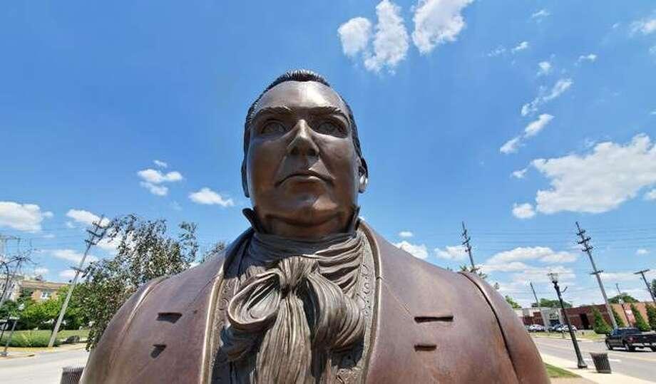 Ninian Edwards' statue and the Ninian Edwards Plaza Photo: Tyler Pletsch | Intelligencer File Photo