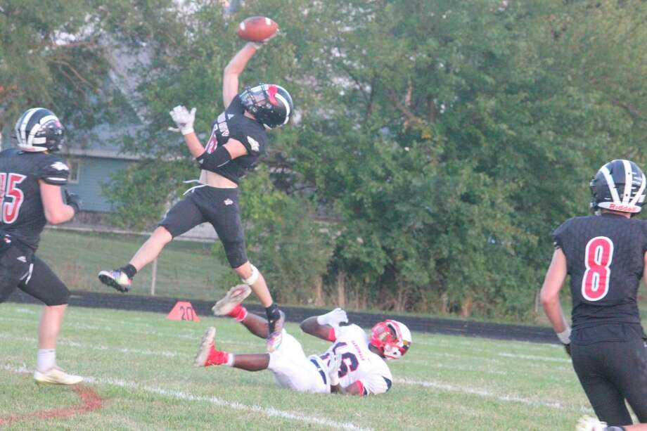 Reed City football players have been flying high toward a 4-0 record so far. (Herald Review photo/John Raffel)