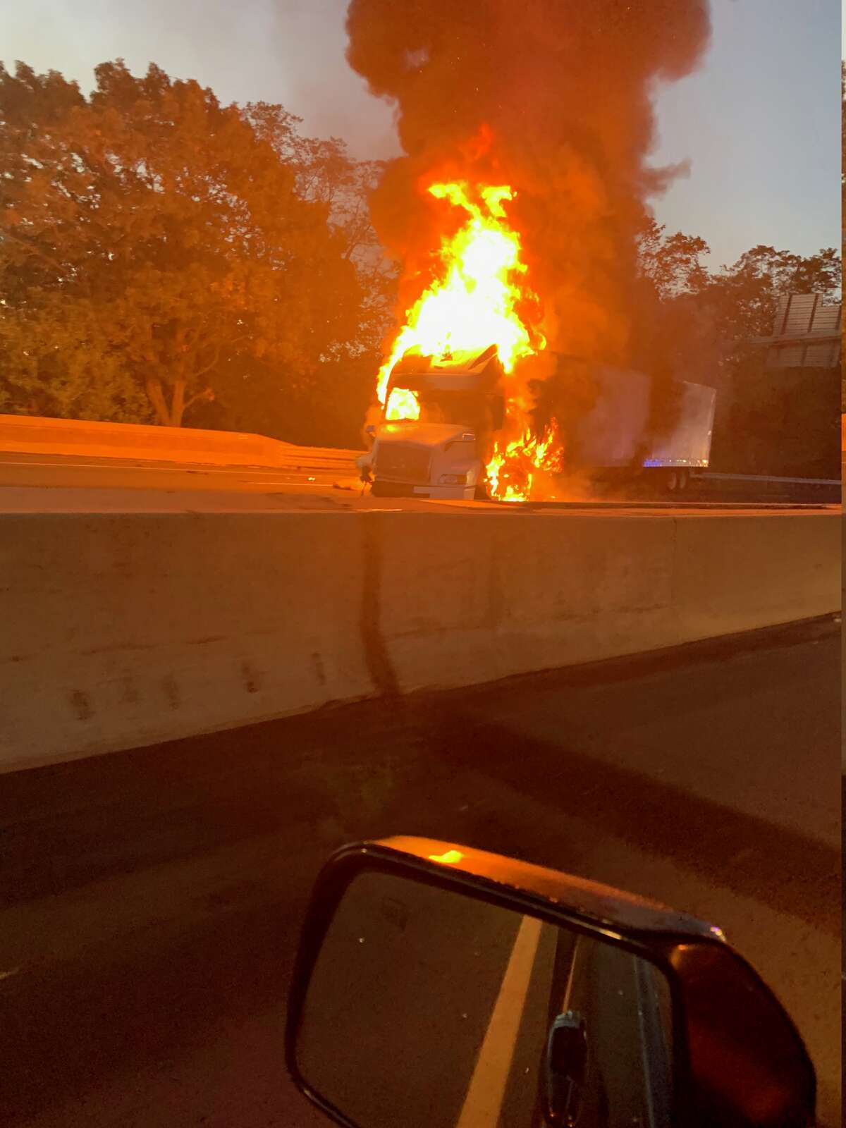 A truck fire on Interstate 95 on Wednesday, Oct. 14, 2020.