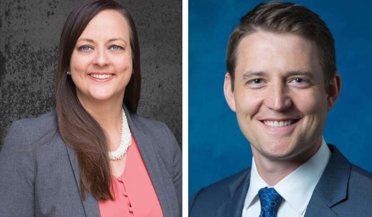 Crystal Uhe, 38, a Democrat, of Edwardsville, left, is facing Thomas Haine, 35, an Alton Republican, in the battle for Madison County State's Attorney.