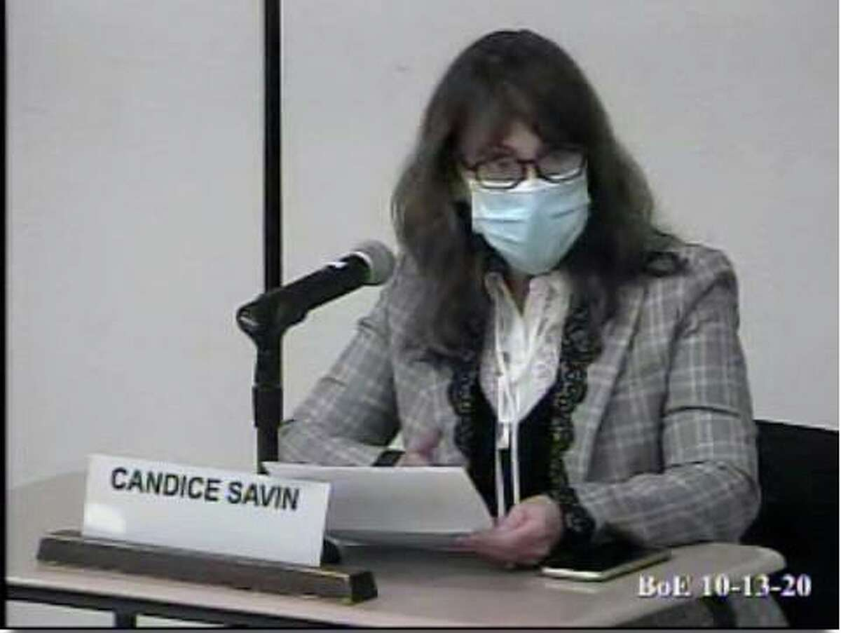 Board of Education Chair Candice Savin speaks at a BOE meeting on Tuesday. Taken Oct. 13, 2020.