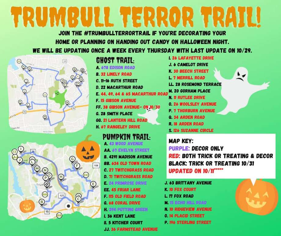 The trail consists of a map, with the addresses of Trumbull homes plotted and color-coded based on whether the house is decorated, distributing Halloween treats, or both. It can be found online under the social media tag #trumbullterrortrail.