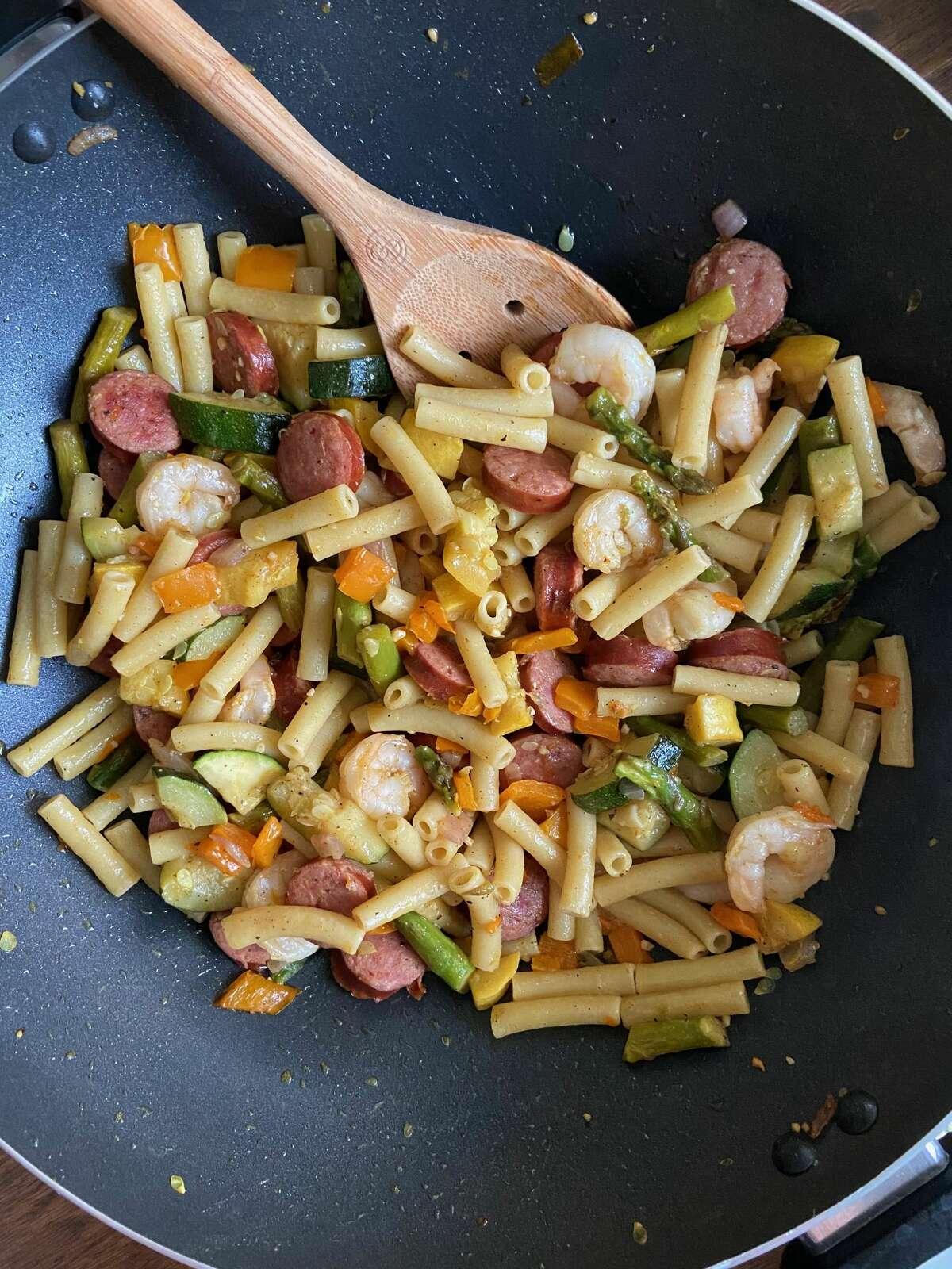 Shrimp and sausage with veggies