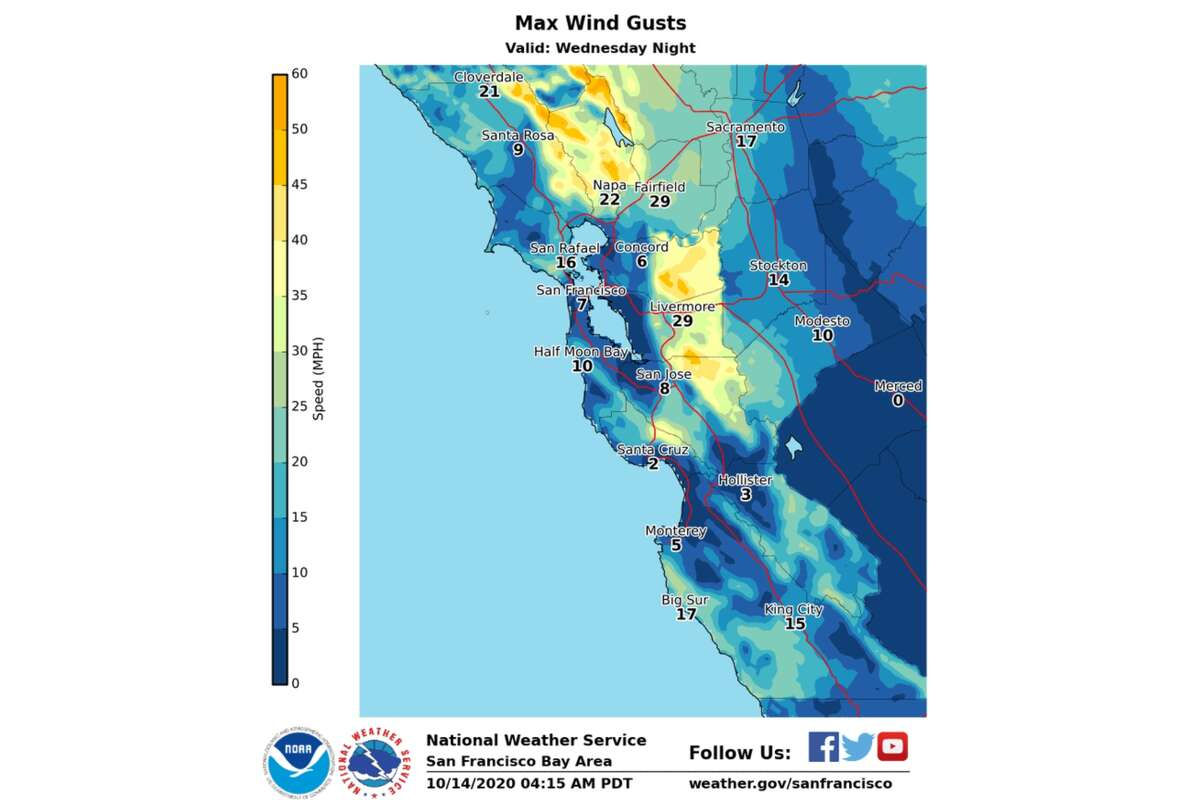 The National Weather Service released a map with a wind forecast for Wednesday night, showing the strongest winds will be in the North and East Bay Hills above 1,000 feet where maximum gusts of 40-50 mph are possible.