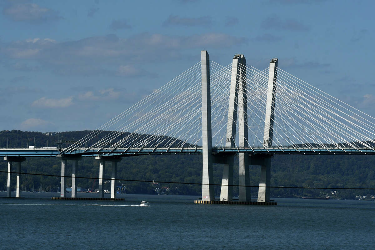 The Governor Mario M. Cuomo Bridge carrying I-287 across the Hudson River is seen from Lyndhurst Mansion on Tuesday, Oct. 6, 2020, in Tarrytown, N.Y. (Will Waldron/Times Union)