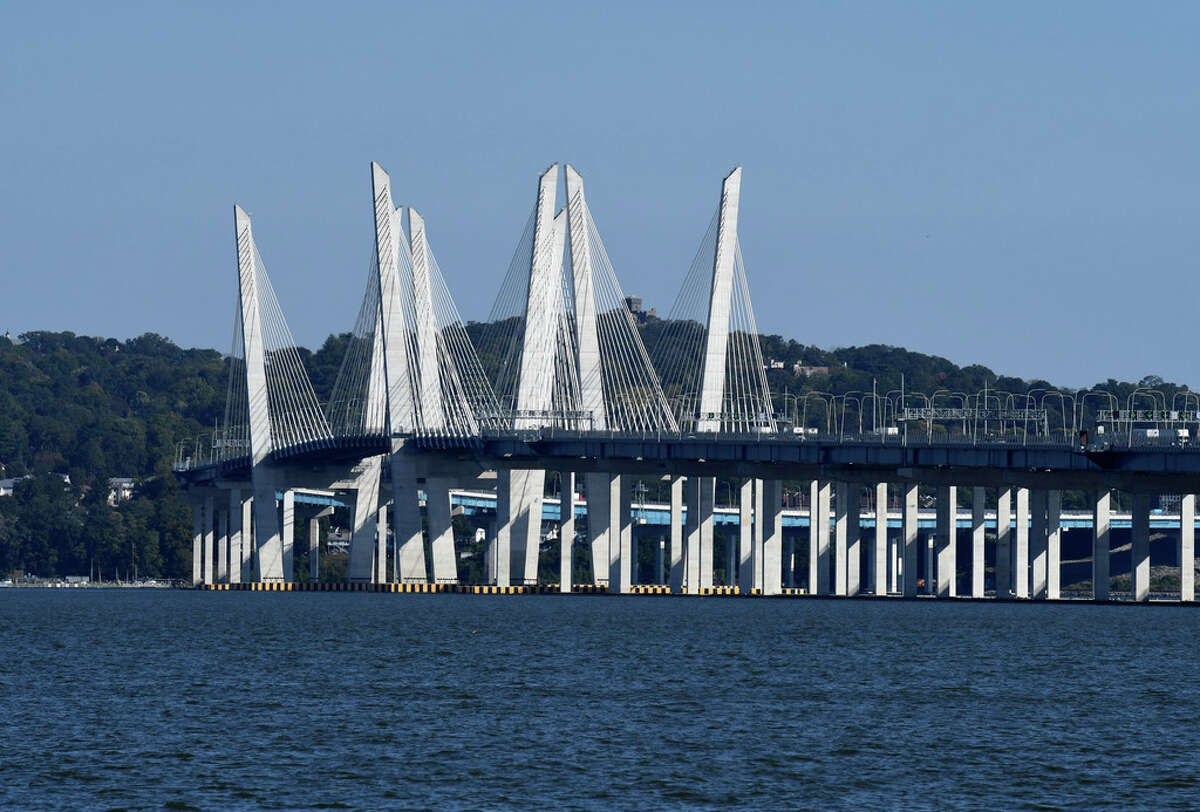 The Governor Mario M. Cuomo Bridge carrying I-287 across the Hudson River is seen on Tuesday, Oct. 6, 2020, from Piermont Avenue in South Nyack, N.Y. (Will Waldron/Times Union)