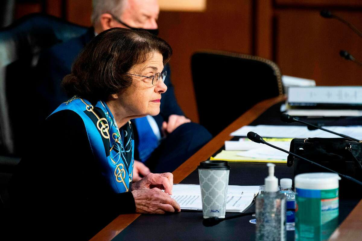 Senator Dianne Feinstein (D-CA) looks on during testimony from Supreme Court nominee Judge Amy Coney Barrett on October 14, 2020 in Washington, DC. - After liberal icon Ruth Bader Ginsburg's death last month left the nine-member court with a vacancy, Trump has rushed to fill it at the height of his presidential election battle against Democrat Joe Biden. (Photo by Bill Clark / POOL / AFP) (Photo by BILL CLARK/POOL/AFP via Getty Images)