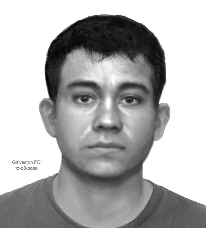 Anyone with information on the suspect (pictured here in a sketch) or the vehicle is asked to contact Detective Michelle Sollenberger at 409-765-3770. Photo: Galveston PD