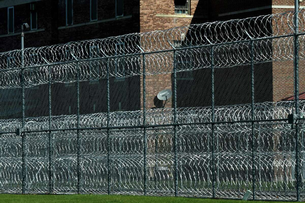 Concertina wire encircles the Coxsackie Correctional Facility prison on Wednesday, Oct. 14, 2020, in Coxsackie, N.Y. (Will Waldron/Times Union)