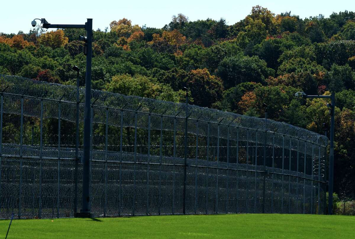 Concertina wire encircles the Coxsackie Correctional Facility prison on Wednesday, Oct. 14, 2020, in Coxsackie, N.Y.(Will Waldron/Times Union)