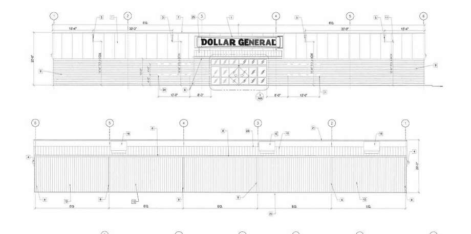 A design drawing shows what the proposed Dollar General on Sandow Road would look like. (Agenda photo/City of Midland)