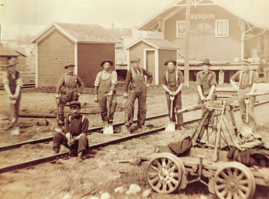 Bendon depot and railroad maintenance crew with handcar in early 1900's. (Courtesy Photo)