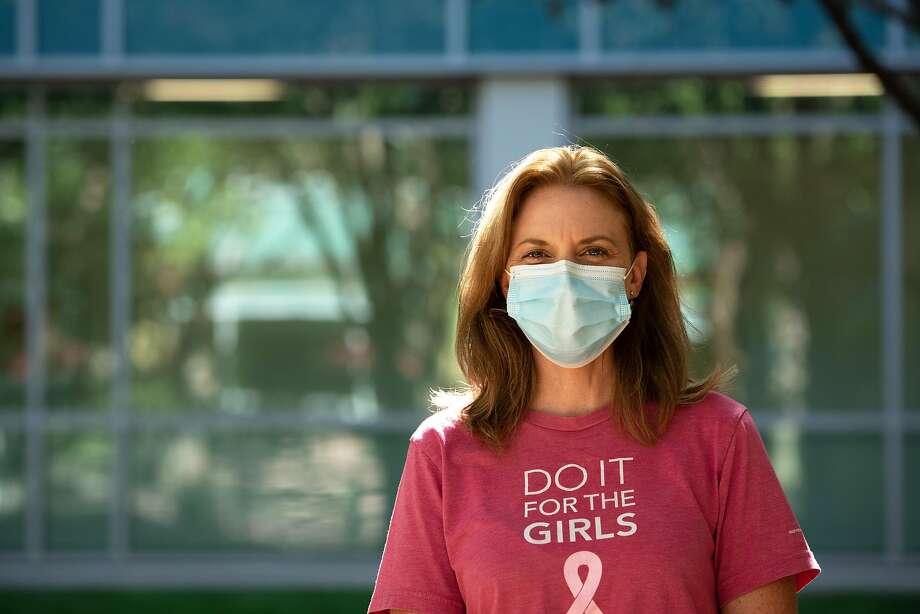 Dusta Eisenman, a pediatric nurse and COVID-19 vaccine trial volunteer, at Kaiser Permanente Santa Clara. Photo: Sara Gobets / Special To The Chronicle
