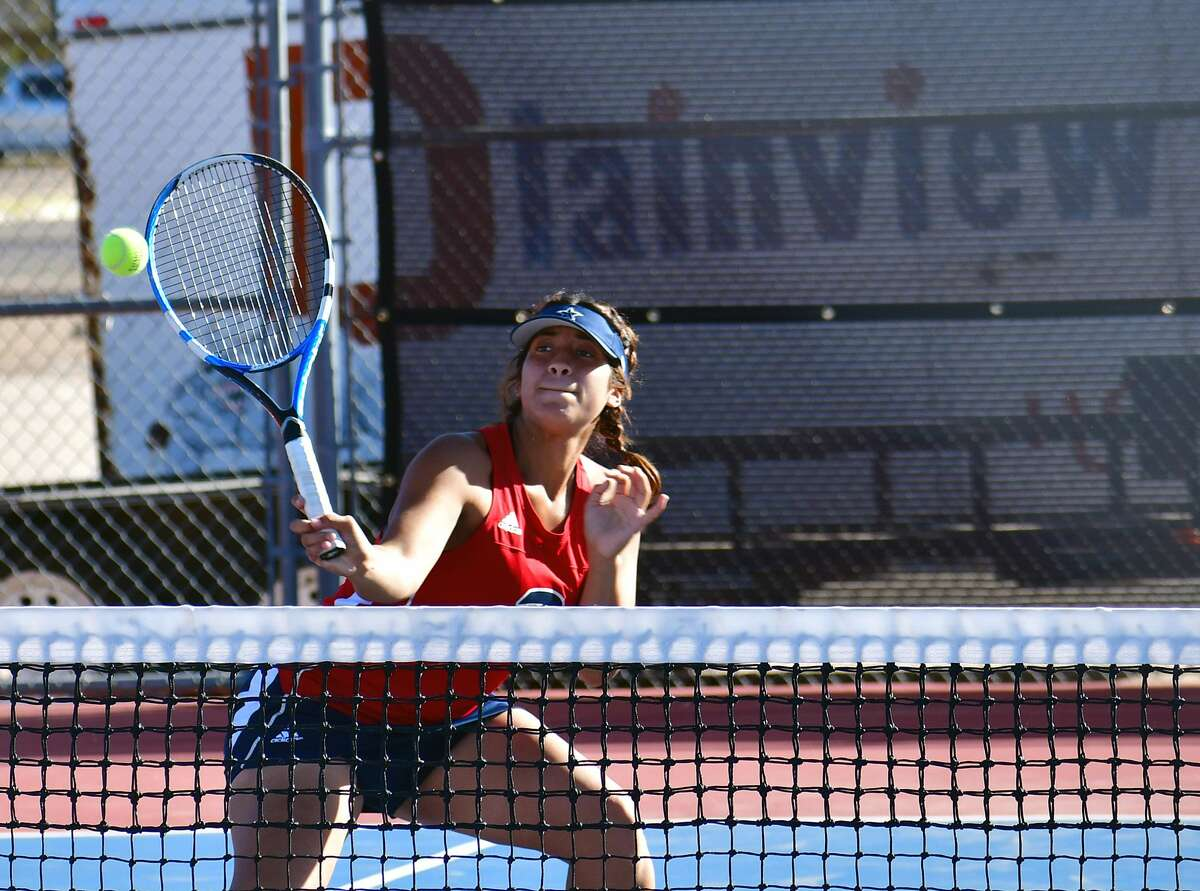 Plainview's Desiree Gutierrez hits a return shot during a first flight doubles match against Amarillo Caprock on Tuesday, Oct. 13, 2020 at Plainview High School.