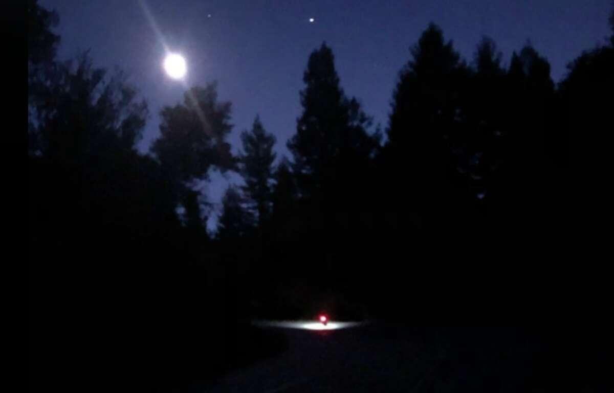 Nighttime riding during Kevin Ahlvin's Everesting quest in Tilden Park.
