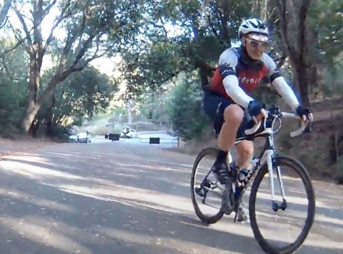 Kevin Ahlvin near the bottom of South Park Drive in Tilden Regional Park during his Everesting quest.