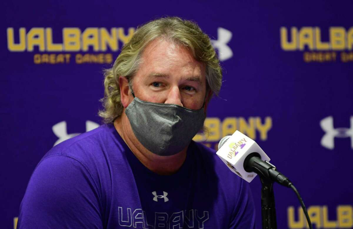 Men's lacrosse coach Scott Marr in talks to the press in the SEFCU Arena at University at Albany on Wednesday, Oct. 14, 2020 in Albany, N.Y. (Lori Van Buren/Times Union)