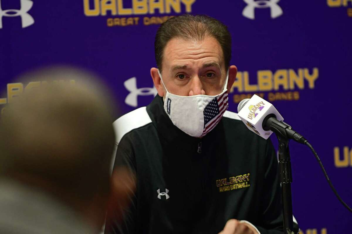 Men?•s basketball coach Will Brown talks to the press in the SEFCU Arena at University at Albany on Wednesday, Oct. 14, 2020 in Albany, N.Y. (Lori Van Buren/Times Union)