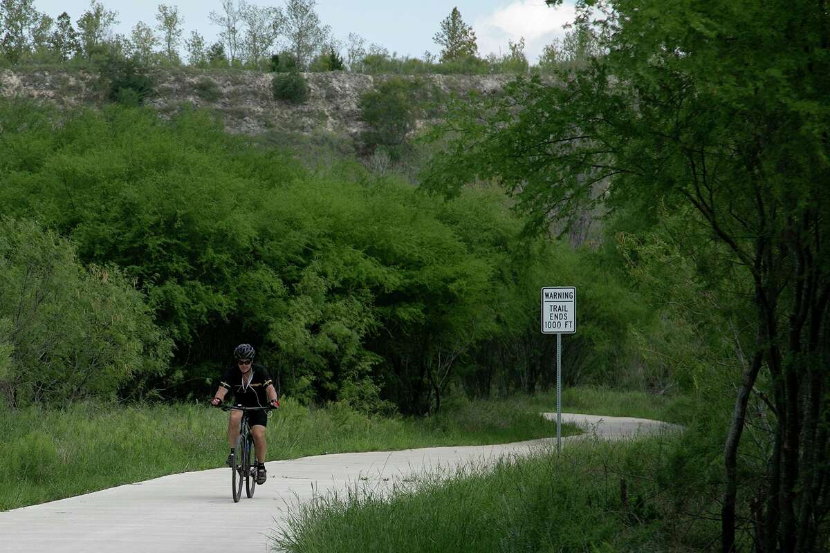 Steve Hayes rides south on the Leon Creek Greenway after turning around at its northern end, closest to The Rim Trailhead, during a 35-mile ride on Sept. 18, 2020.