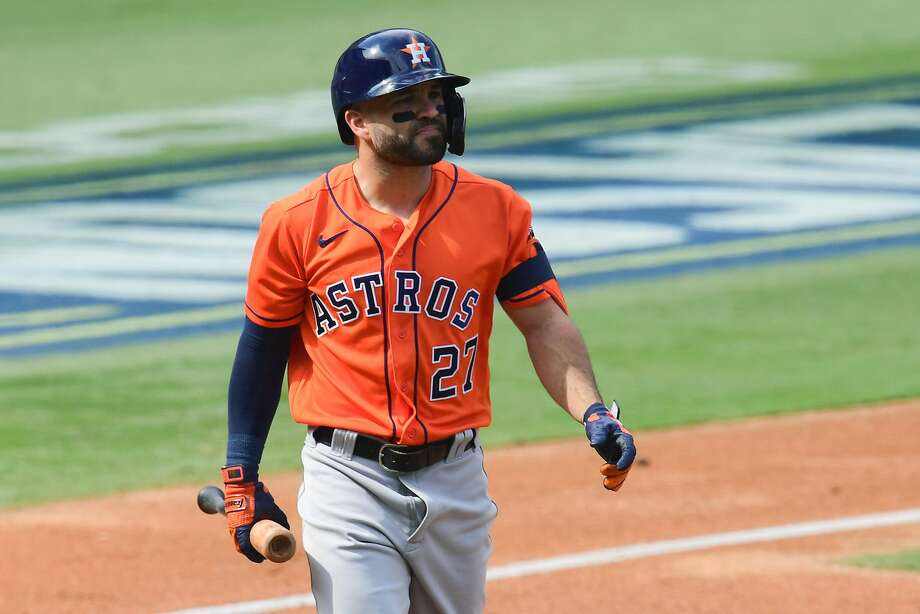 Jose Altuve #27 of the Houston Astros reacts after striking out against the Oakland Athletics during the third inning in Game One of the American League Division Series at Dodger Stadium on October 05, 2020 in Los Angeles, California. Photo: Harry How/Getty Images / 2020 Getty Images