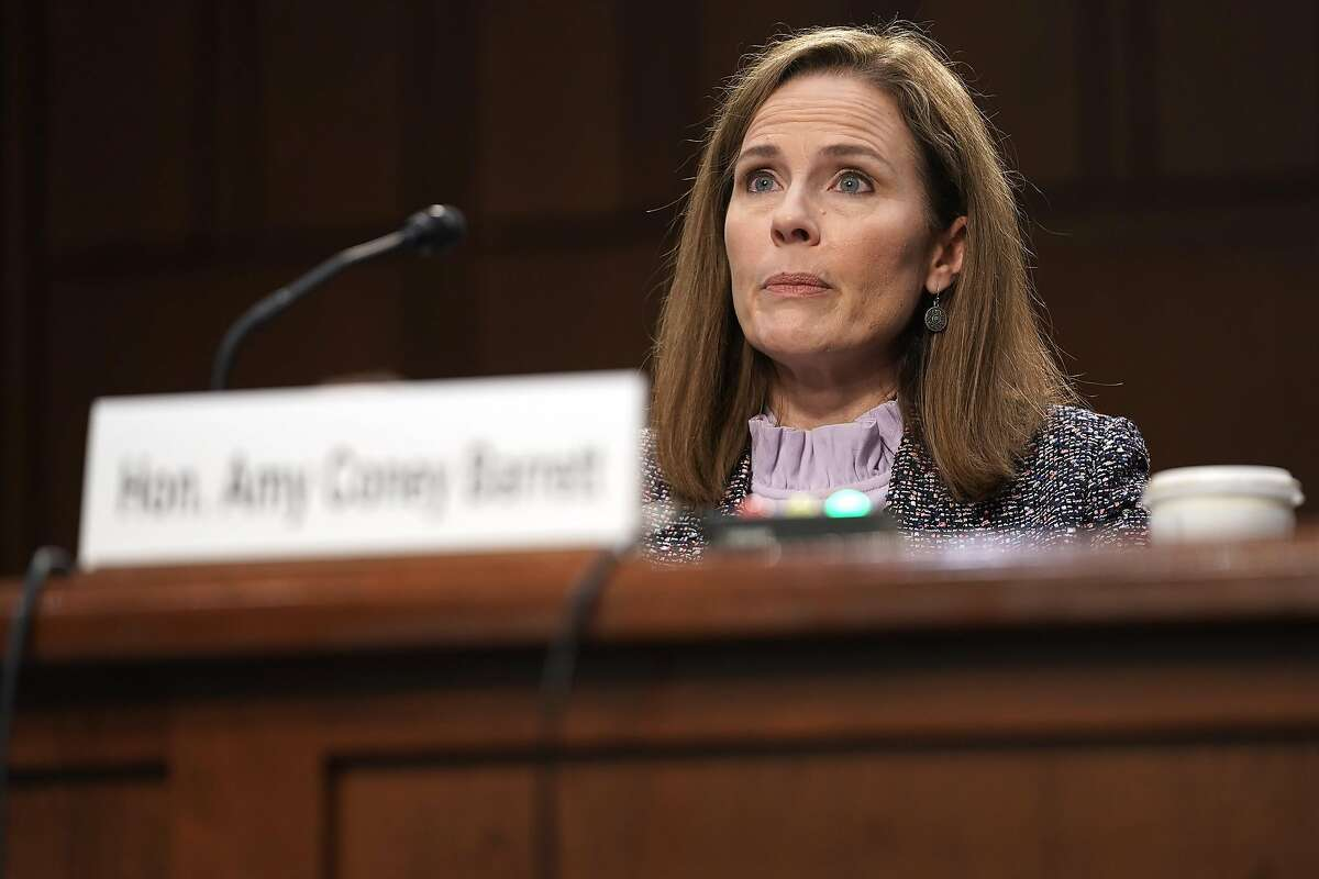 Supreme Court nominee Judge Amy Coney Barrett as she testifies before the Senate Judiciary Committee on October 14, 2020 in Washington, DC. Barrett has avoided directly answering Dianne Feinstein's questions on the Affordable Care Act. (Photo by Greg Nash-Pool/Getty Images)
