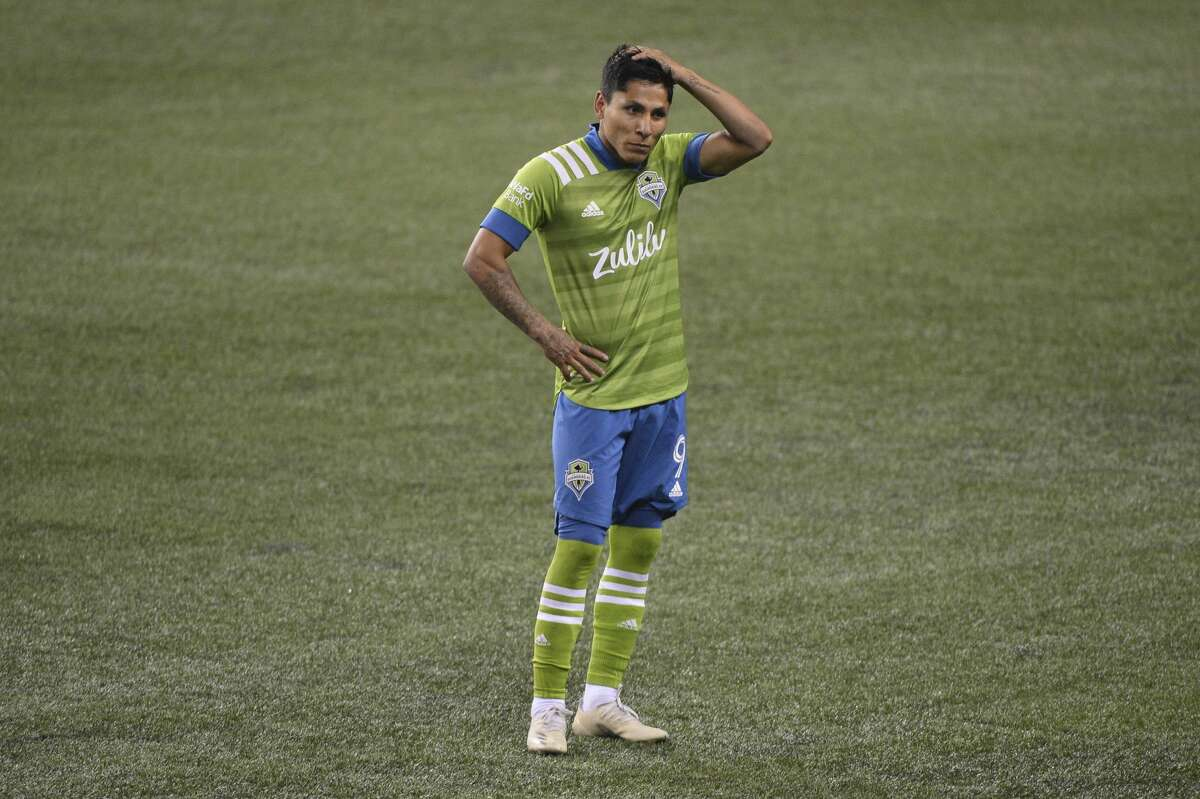 SEATTLE, WA - OCTOBER 03: Seattle Sounders forward Raul Ruidiaz (9) waits on the field during a replay review during a MLS match between the Seattle Sounders and the Vancouver Whitecaps on October 3, 2020, at CenturyLink Field in Seattle, WA. (Photo by Jeff Halstead/Icon Sportswire via Getty Images)