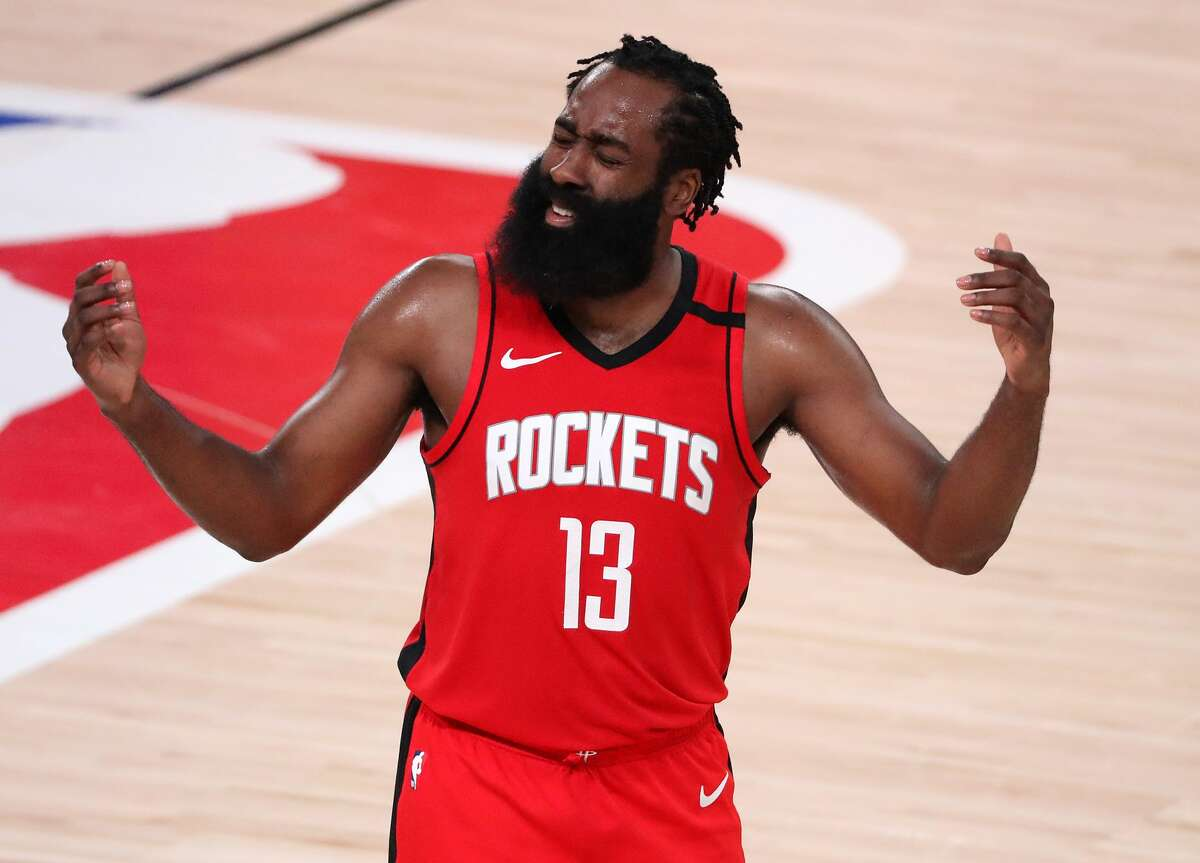 James Harden reacts during the third quarter against the Los Angeles Lakers in Game Four of the Western Conference Second Round during the 2020 NBA Playoffs on September 10, 2020 in Lake Buena Vista, Florida.