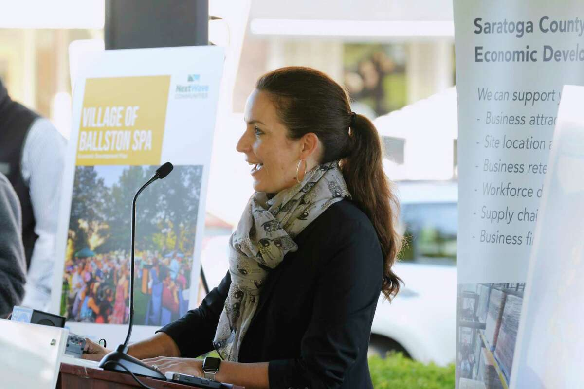 Saratoga Partnership President and CEO Shelby Schneider speaks at an event at Wiswall Park on Wednesday, Oct. 14, 2020, in Ballston Spa, N.Y. (Paul Buckowski/Times Union)