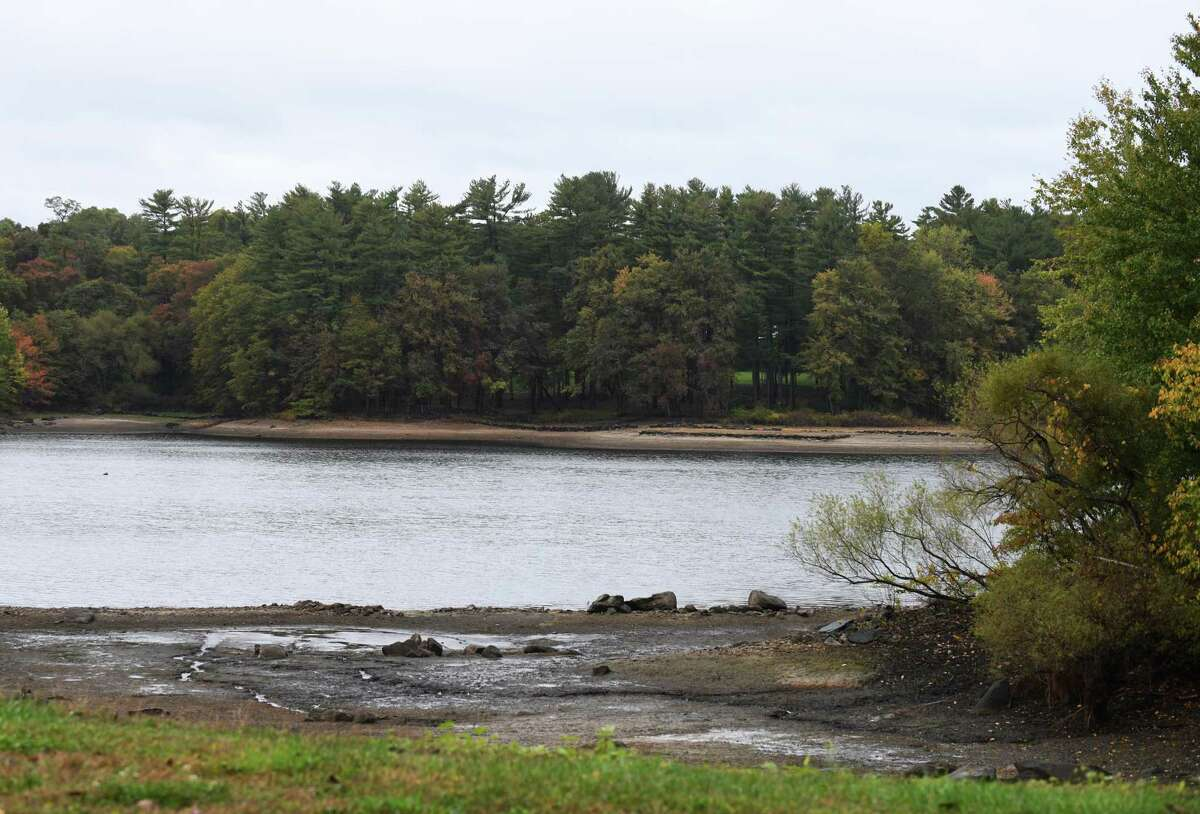 Water levels are low at Putnam Reservoir in Greenwich, Conn. Monday, Oct. 12, 2020. Some rain has boosted the reservoir levels since then but officials remain concerned about the level of water going into next spring.
