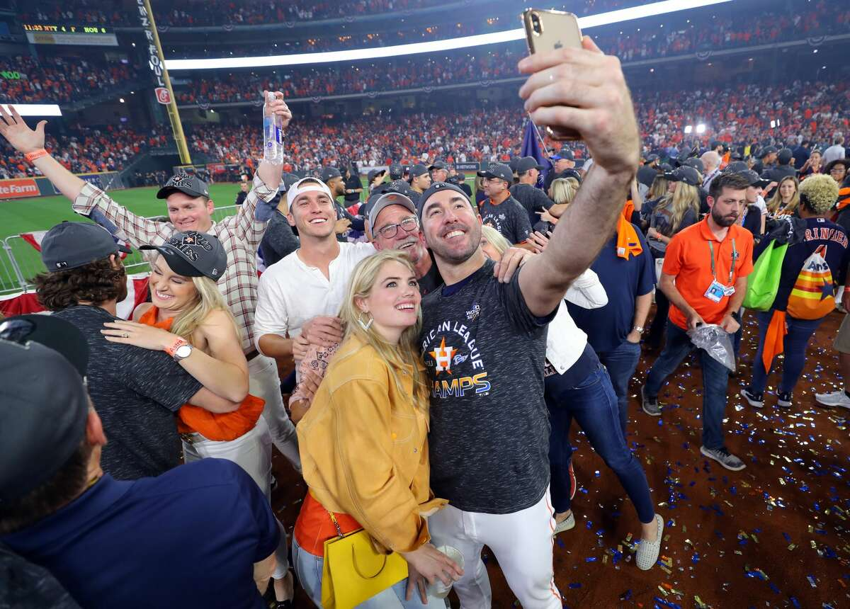 Justin Verlander and his wife Kate Upton take a selfie after Game 6 of the ALCS between the New York Yankees and the Houston Astros at Minute Maid Park on Saturday, October 19, 2019 in Houston, Texas.