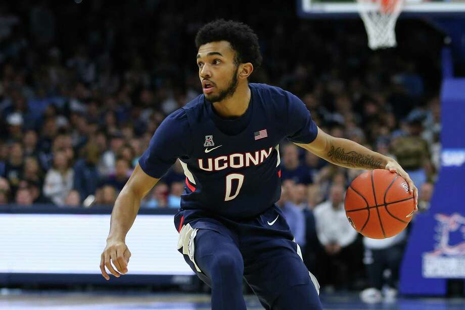 PHILADELPHIA, PA - JANUARY 18: Jalen Gaffney #0 of the Connecticut Huskies in action against the Villanova Wildcats during a college basketball game at Wells Fargo Center on January 18, 2020 in Philadelphia, Pennsylvania. (Photo by Rich Schultz/Getty Images) Photo: Rich Schultz / Getty Images / 2020 Rich Schultz 2020 Rich Schultz
