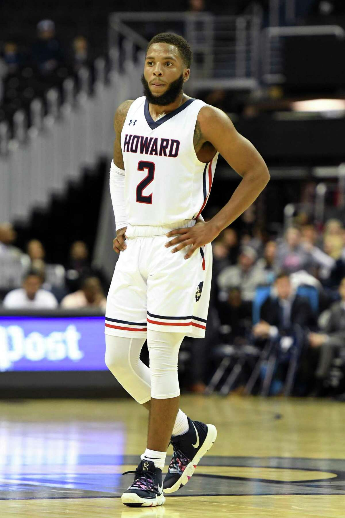 WASHINGTON, DC - DECEMBER 29: RJ Cole #2 of the Howard Bison looks on during a college basketball game against the Georgetown Hoyas at the Capital One Arena on December 29, 2018 in Washington, DC. (Photo by Mitchell Layton/Getty Images)
