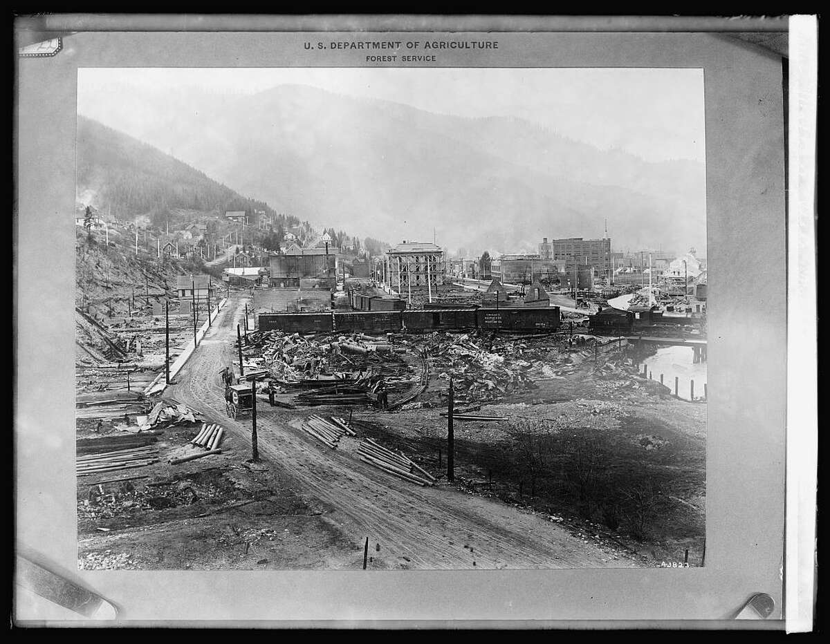 A section of Wallace, Idaho, destroyed by the 1910 Big Blowup wildfire.