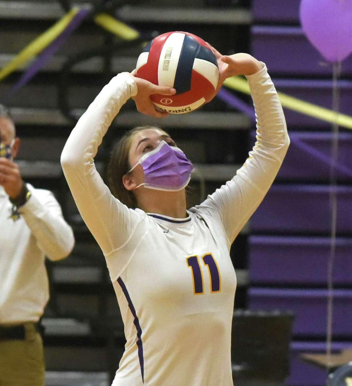 Westhill's Vana Servos (11) sets the ball during the Vikings' season-opening volleyball match against Stamford at Westhill High School on Thursday, Oct. 1, 2020