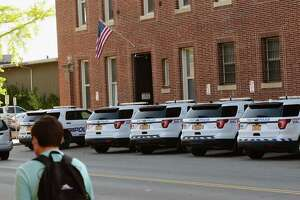 Police cars are seen parked outside the Troy Police Station on Wednesday, Oct. 14, 2020 in Troy, N.Y. (Lori Van Buren/Times Union)
