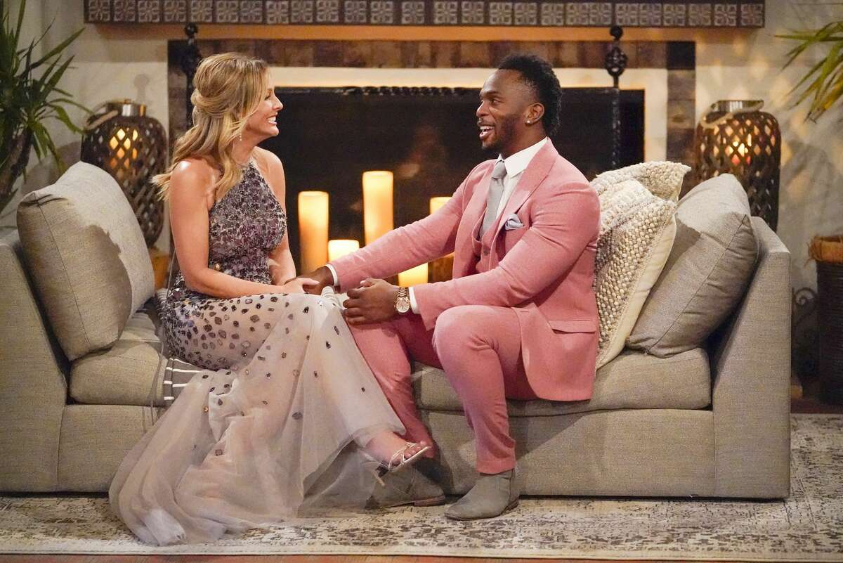 Eazy, also known as former Texas A&M star receiver Uzoma Nwachukwu, chats with Clare Crawley on the first episode of season 16 of ABC's