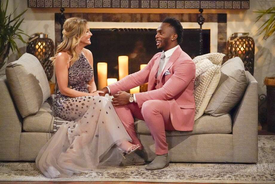 """Eazy, also known as former Texas A&M star receiver Uzoma Nwachukwu, chats with Clare Crawley on the first episode of season 16 of ABC's """"The Bachelorette."""" Photo: Craig Sjodin/ABC Via Getty Images / 2020 American Broadcasting Companies, Inc."""
