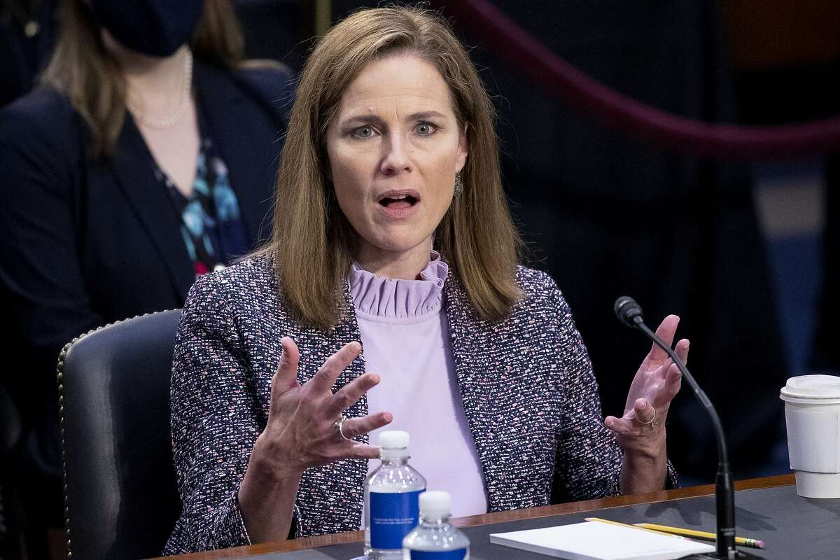 Supreme Court nominee Amy Coney Barrett testifies during her confirmation hearings before the Senate Judiciary Committee in Washington.